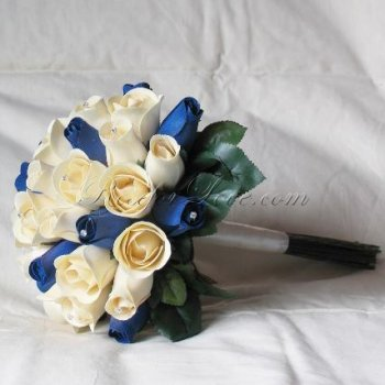Wooden Rose White and Navy Blue Bridal Bouquet with Diamante Pin