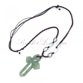Handcrafted Jade Cross Hand-Knit Necklace