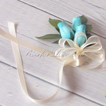 Wooden Rose White and Light Blue Corsage