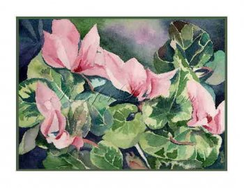 8 Watercolor Cyclamen Flowers Greeting Note Cards