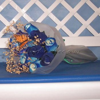 Bouquet of Wooden Rose Large Blue Buds