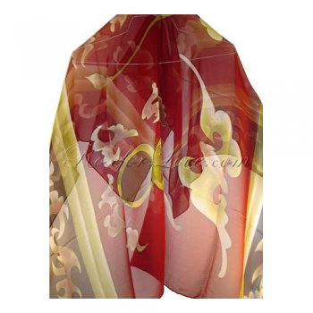 Square Ancient Asian Desgin Silk Scarf