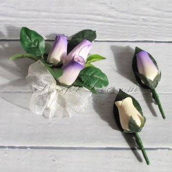 Wooden Rose White with Purple Tip Corsage and Buttonholes (a Set