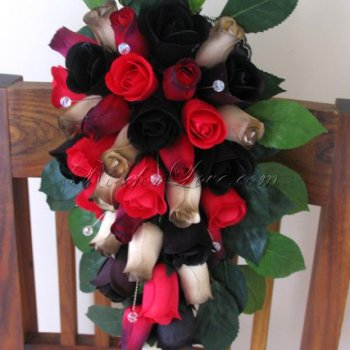Wooden Rose Red and Black Bridal Bouquet with Diamante Pins and