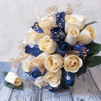Wooden Rose White and Blue Bridal Bouquet with Baby's Breath + B