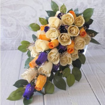 Wooden Rose Tri-Color Bridal Teardrop Bouquet with Baby's Breath