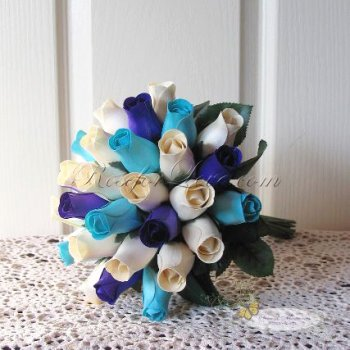 Wooden Rose White and Blue Bridal Bouquet