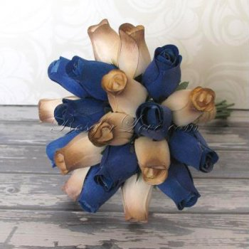 Wooden Rose Blue and Light Brown Bridesmaid Bouquet