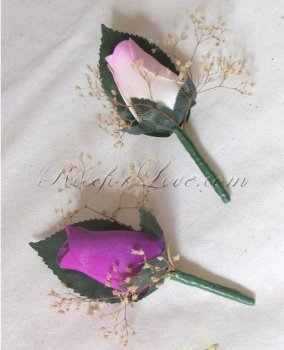 Wooden Rose Purple and Light Lavender Buttonholes with Baby's Br