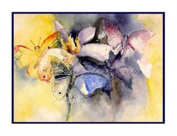8 Watercolor Butterfly Greeting Note Cards