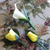 Wooden Rose White Calla Lily Corsage and Buttonholes (a Set of 3)