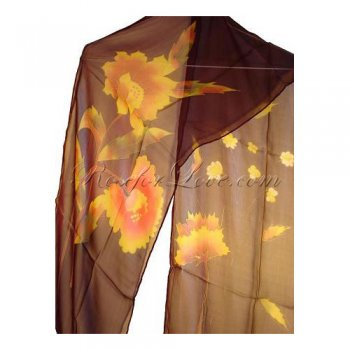 Long Flower Silk Scarf