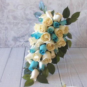 Wooden Rose White and Light Blue Bridal Teardrop Bouquet
