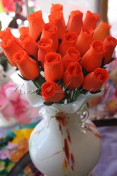 Bouquet of Wooden Rose Orange Buds (2 Color Options)