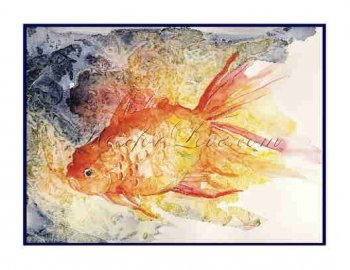 8 Watercolor Goldfish Greeting Note Cards