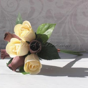 Wooden Rose White and Burgundy Bridesmaid Bouquet