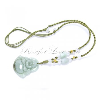 Handcrafted Jade Happy Buddha Necklace
