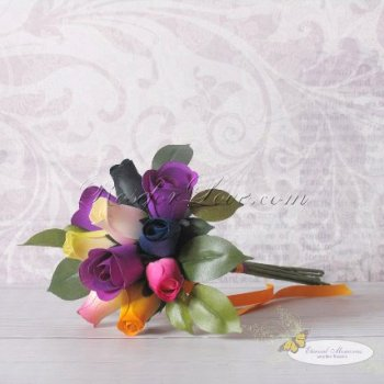 Wooden Rose Multi-Color Flower Girl Bouquet