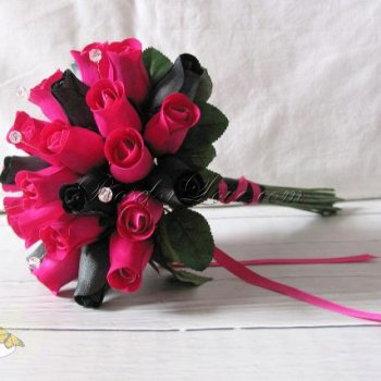 Wooden Rose Hot Pink and Black Bridal Bouquet with Diamante Pins