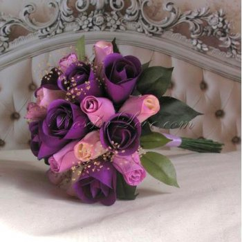 Wooden Rose Purple and Light Lavender Bridesmaid Bouquet with Ba