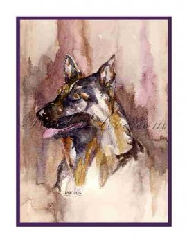 8 Watercolor German Shepherd Dog Greeting Note Cards