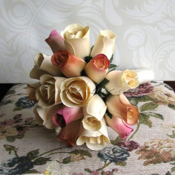 Wooden Rose White and Pink Bridesmaid Bouquet