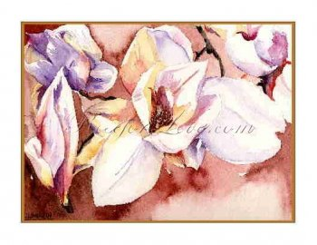 8 Watercolor White Magnolia Greeting Note Cards