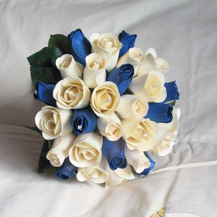White Wedding Bouquets Navy Blue Bridesmaid Dresses